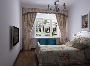 ,105平,6万,地中海,两居,卧室,田园,绿色,蓝色,白色,