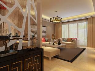 客厅装修效果图,142平,10万,中式,三居,客厅,原木色,黄色,