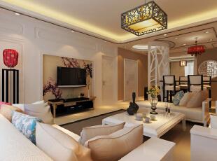 客厅装修效果图,142平,10万,中式,三居,客厅,原木色,