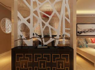 玄关装修效果图,142平,10万,中式,三居,玄关,原木色,