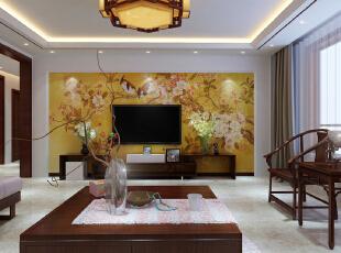 ,180平,12万,中式,四居,客厅,原木色,白色,