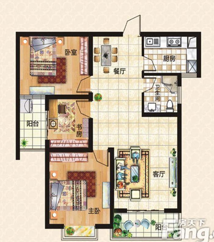 上东城98平方三室两厅新中式装修效果图 户型图