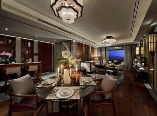 上东城98平方三室两厅新中式装修效果图 餐厅,98平,7万,中式,两居,餐厅,