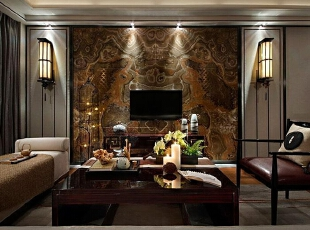上东城98平方三室两厅新中式装修效果图 客厅,98平,7万,中式,两居,客厅,