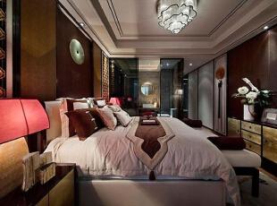 上东城98平方三室两厅新中式装修效果图 卧室,98平,7万,中式,两居,卧室,