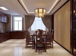 ,180平,12万,中式,四居,餐厅,厨房,白色,原木色,