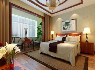 ,140平,11万,中式,三居,卧室,绿色,