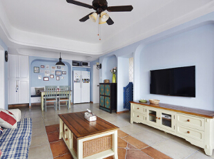 ,75平,6万,地中海,公寓,客厅,蓝色,