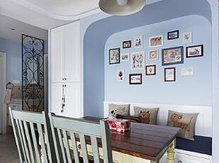 ,75平,6万,地中海,公寓,餐厅,蓝色,