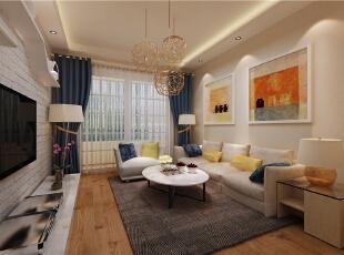 ,88平,6万,现代,两居,客厅,白色,简约,原木色,黄色,宜家,