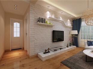 ,88平,6万,现代,两居,客厅,白色,原木色,黄色,简约,