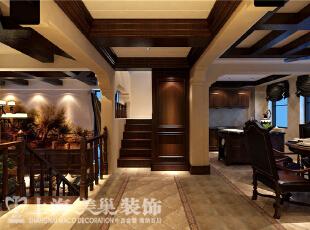 水映唐庄180平复式美式乡村风格装修样板间效果图-二楼餐厅、楼梯,180平,20万,美式,别墅,原木色,