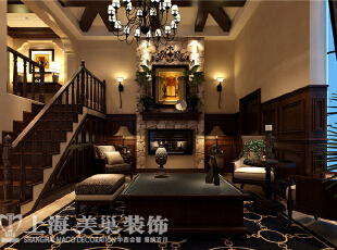 郑州水映唐庄180平方联排美式乡村装修案例-客厅效果图,电视背景墙 客厅背景采用的是复古文化石,砌成壁炉的形象,来体现传统美式的氛围。天花是在原来梁体的基础上,以整合的手法让原先不规则的梁体,以粗旷的实木框架来体现,厚重而自然。,180平,20万,美式,别墅,客厅,原木色,