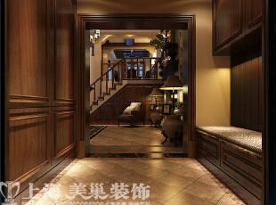 水映唐庄美式乡村装修样板间-门厅,180平,20万,美式,别墅,玄关,原木色,