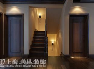 水映唐庄180平方装修样板间效果图-走廊楼梯,180平,20万,美式,别墅,原木色,