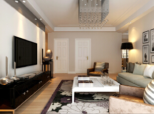 电视背景墙没有去做任何造型,只是铺设墙砖。,89平,6万,现代,两居,客厅,