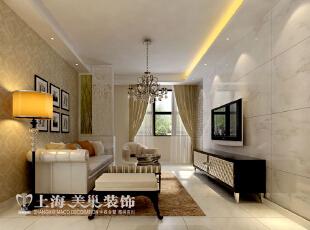 信息工程学院家属院110平方三室两厅客厅装修效果图---沙发背景用壁纸装饰,和客厅背景材质上形成对比,花型丰富。,110平,8万,现代,三居,白色,客厅,