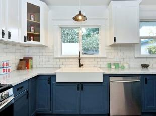 厨房设计,134平,15万,欧式,三居,厨房,白色,蓝色,