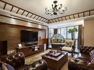 ,121平,10万,混搭,公寓,客厅,原木色,
