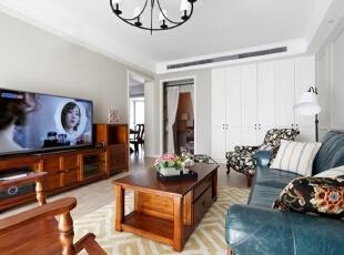 ,140平,12万,美式,三居,客厅,白色,原木色,