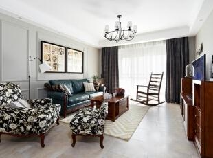 ,140平,12万,美式,三居,客厅,白色,
