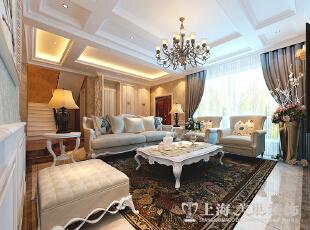 郑州联盟新城330平复式简欧风装修样板间——客厅1装修效果图,复式,客厅,60万,330平,黄色,欧式,