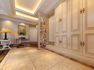 联盟新城330平复式简欧风装修效果图——廊厅装修效果图,330平,60万,欧式,复式,客厅,黄色,