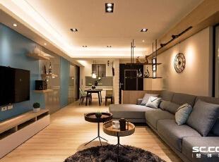 ,78平,10万,简约,两居,客厅,原木色,