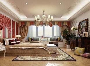 ,400平,60万,混搭,大户型,卧室,红色,黄色,