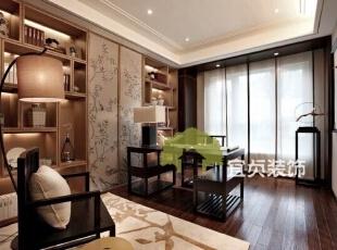 ,125平,11万,中式,公寓,书房,原木色,白色,
