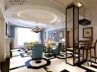 ,220平,38万,大户型,新古典,客厅,蓝色,白色,