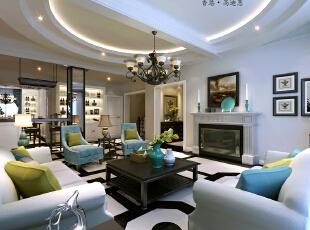 ,220平,38万,大户型,新古典,客厅,黑白,