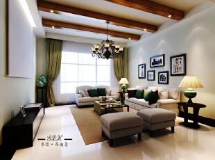 ,220平,38万,大户型,新古典,客厅,白色,
