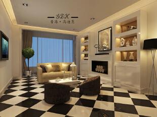 ,220平,60万,大户型,现代,客厅,黑白,