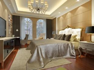 ,380平,100万,欧式,别墅,卧室,黄色,