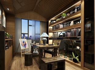 业主对书房很是讲究,没事时也喜欢画两下,128.0平,155600.0万,现代,四居,书房,