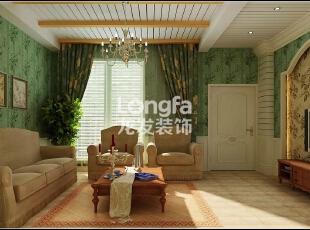 石家庄江南新城450㎡户型美式风格惬意时尚装修效果图案例,450平,50万,美式,别墅,客厅,绿色,黄色,