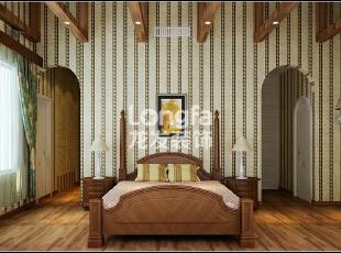 石家庄江南新城450㎡户型美式风格惬意时尚装修效果图案例,450平,50万,美式,别墅,卧室,原木色,