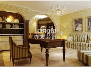 石家庄江南新城450㎡户型美式风格惬意时尚装修效果图案例,450平,50万,美式,别墅,书房,黄色,