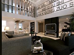 ,280平,58万,现代,别墅,客厅,黑白,