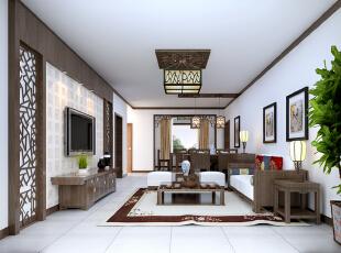 ,120平,12万,中式,三居,客厅,原木色,白色,