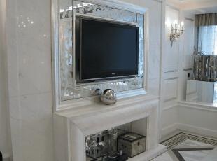 壁炉式电视墙,120平,17万,现代,一居,客厅,白色,