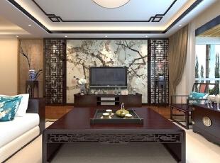 客厅设计: 硬朗的材质搭配具有布艺的沙发,彰显客户的身份与品味,木色屏风一壁纸搭配的背景墙,在空间中增添了新意使的客厅清雅含蓄,端庄风华的东方式精神界的追求。,105平,中式,三居,客厅,原木色,白色,