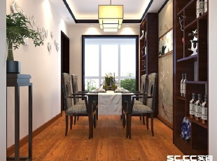 餐厅设计: 餐厅是一家人或和朋友聚餐的一个重要空间,黑色的餐桌和餐椅,墙纸形成了过度的协和,层次感明显,形成舒缓的意境。,105平,中式,三居,餐厅,原木色,白色,
