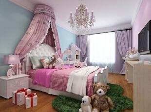 卧室设计: 卧室采用粉**调,温馨,给人进来之后就要有放松的情绪。卧室要求安静,吸引,我们运用软包和护墙板。最好能铺上地毯,既吸音,脚走起来也会舒服些。创造一个舒适,放松的睡眠空间。,105平,中式,三居,卧室,蓝色,粉红色,