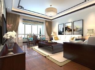 客厅设计: 整个客厅以深色家具为主,深浅色作对比,整体简洁,尽显奢华,主人个性张扬,运用木材和壁纸,凸显客户品味和性格。吊顶做了灯槽,加了一些车边境,有增强空间感和奢华气息,符合了客户身份的要求。,105平,中式,三居,客厅,白色,