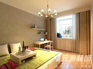 ,117平,6万,现代,三居,卧室,绿色,白色,