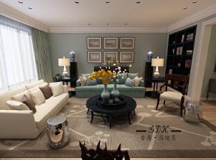 ,220平,60万,大户型,美式,客厅,绿色,白色,