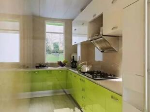 ,117平,6万,现代,三居,厨房,绿色,白色,