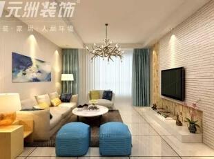 ,117平,6万,现代,三居,客厅,黄色,